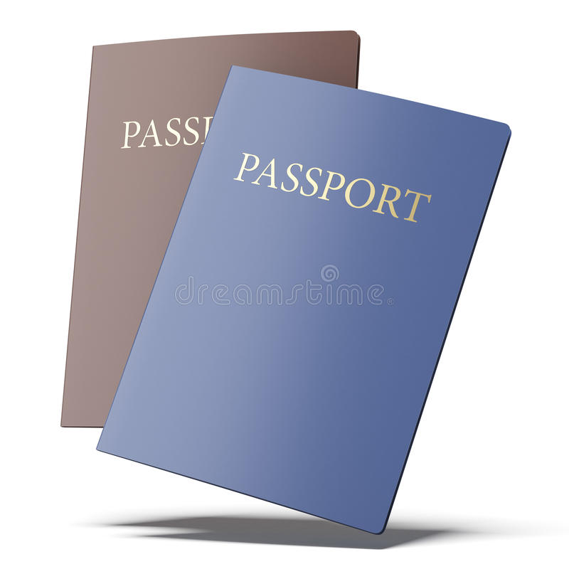 Two passports. Isolated on a white background. 3d render vector illustration