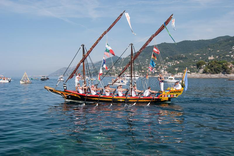 U Dragun boat and folkloristic Christian procession during Star royalty free stock photos