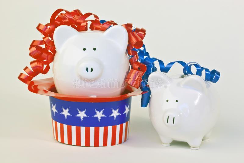 Two patriotic piggy banks