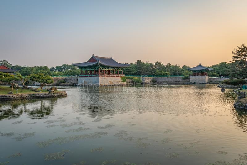 Two pavilions of the Donggung Palace and the Wolji Pond. Shot at the end of the afternoon, Gyeongju, South Korea stock photos