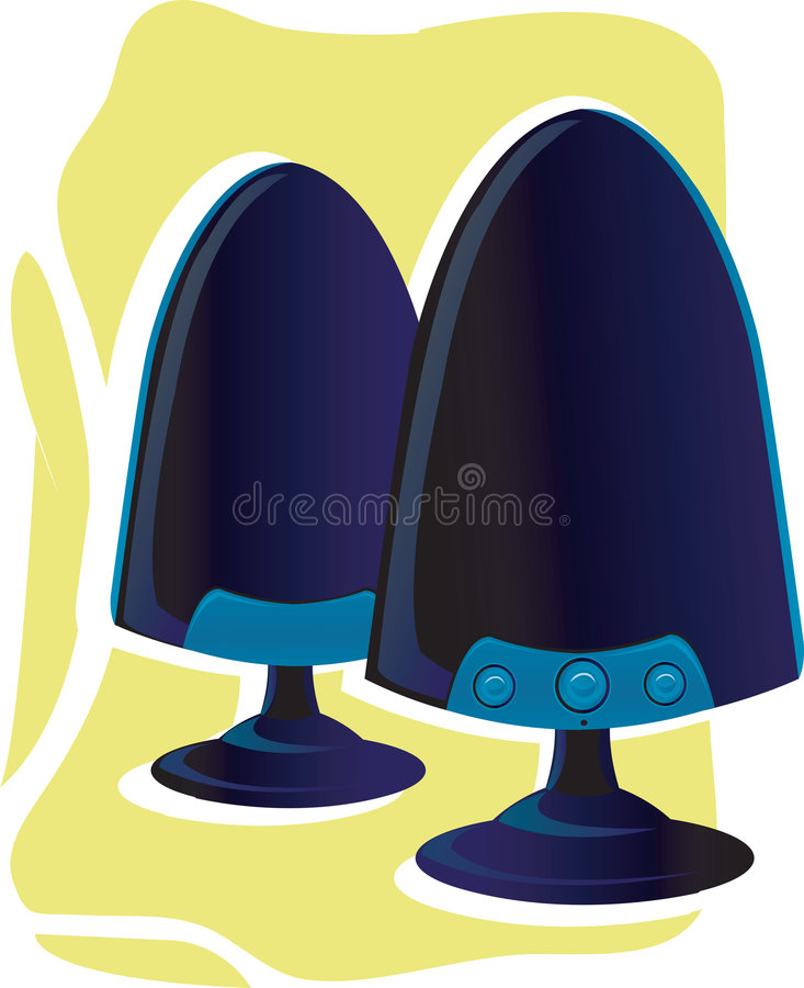 Two pc speakers on yellow royalty free illustration