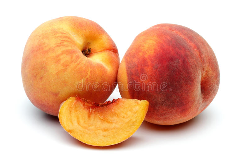 Two Peach and sliced peach. On the white background