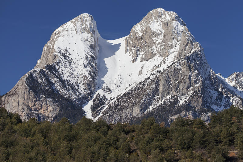 The Two Peaks of the Pedraforca stock images