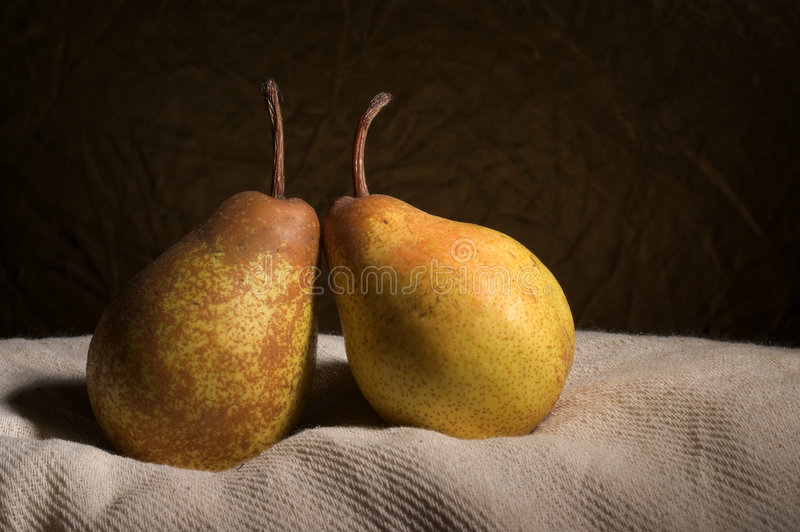 Two pears in still-life stock photos