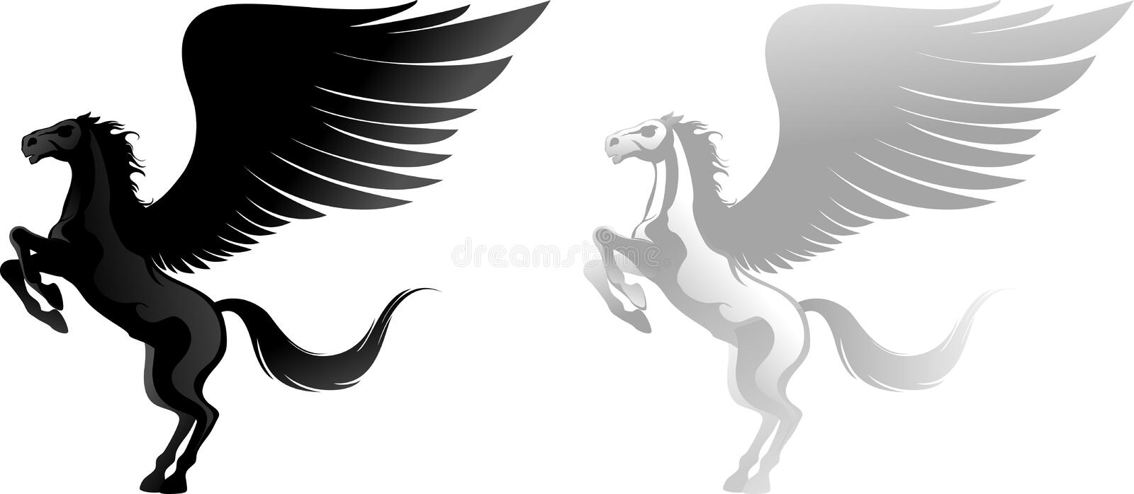 Download Two pegasus stock vector. Image of power, horse, imagination - 17677199