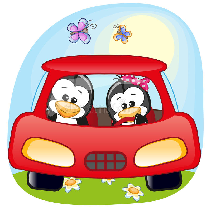 Two Penguins in a car royalty free illustration