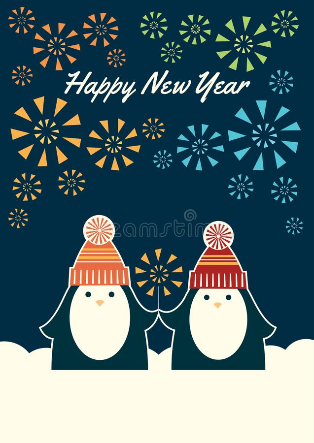 Two penguins happy new year royalty free illustration