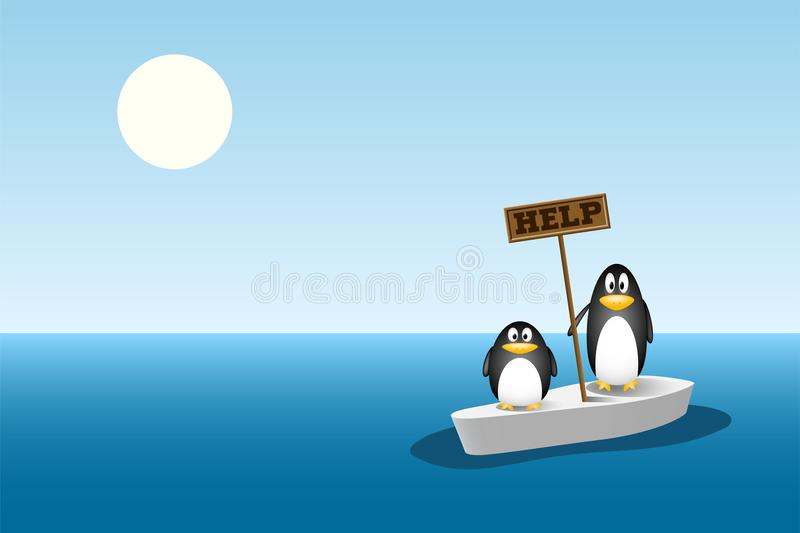 Two penguins standing on the last ice floe in the ocean. global warming concept. Two penguins are left behind on the last ice floe after all the ice berg has vector illustration