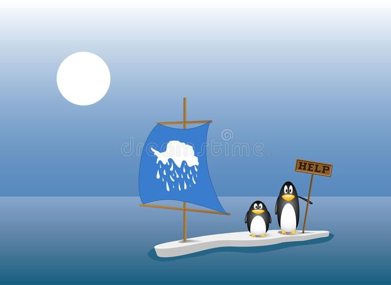 Two penguins standing on the last ice floe in the ocean. global warming concept. Two penguins are left behind on the last ice floe after all the ice berg has stock illustration