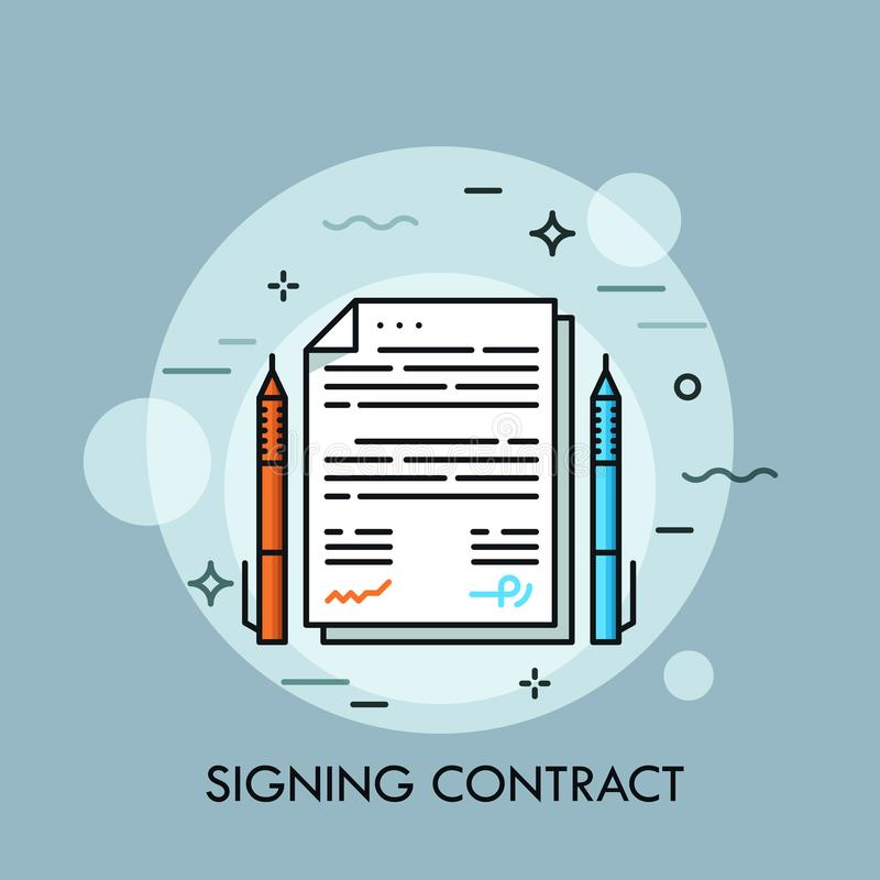 Two pens of different color and paper document between them. Contract signing, conclusion of business agreement, deal royalty free illustration