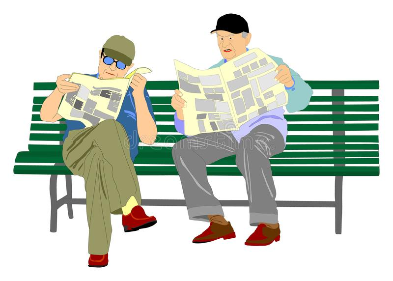 Two pensioners read newspapers on the bench in the park. Vector isolated on white background vector illustration
