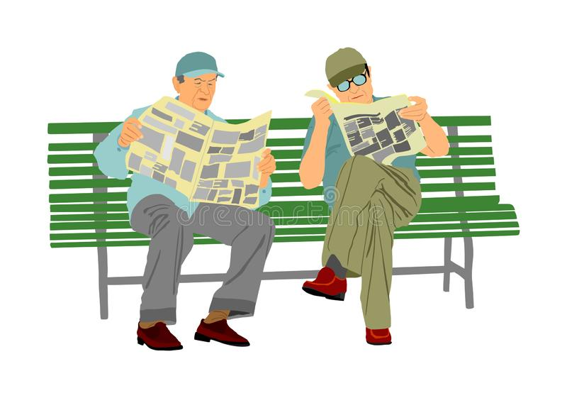 Two pensioners read newspapers on the bench in park. Vector illustration isolated on white background. Senior friends relaxing outdoor. Retail old man. Grandpa royalty free illustration