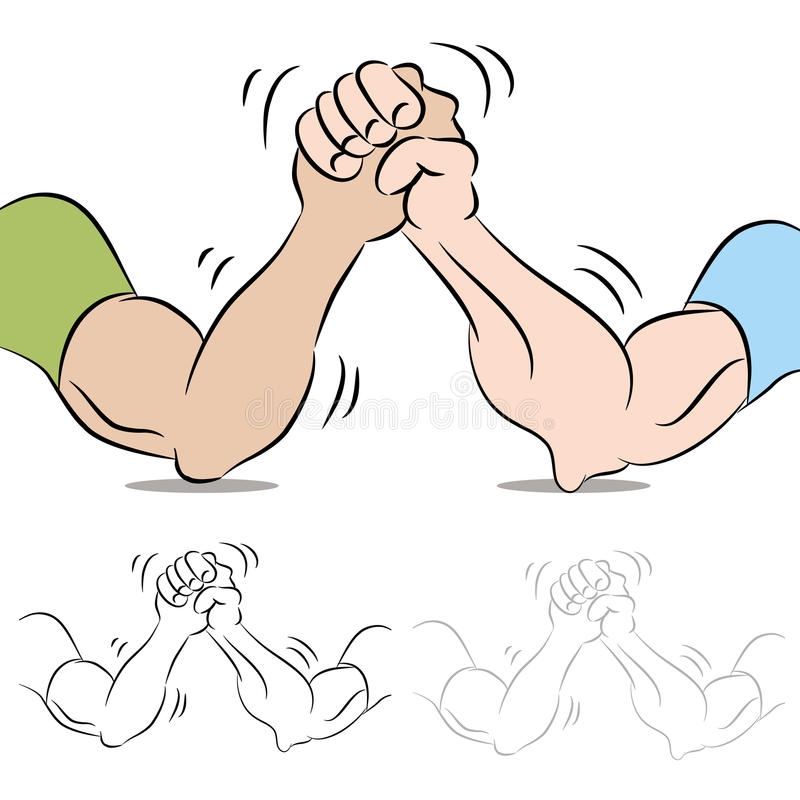 Two People Arm Wrestling vector illustration