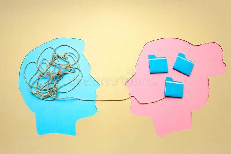 Two people communicate face to face, man and woman. Concept decoding and understanding problem, conflict stock images