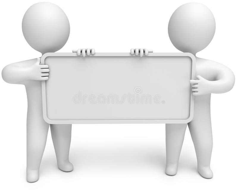 Two people with an empty signboard in hands royalty free illustration