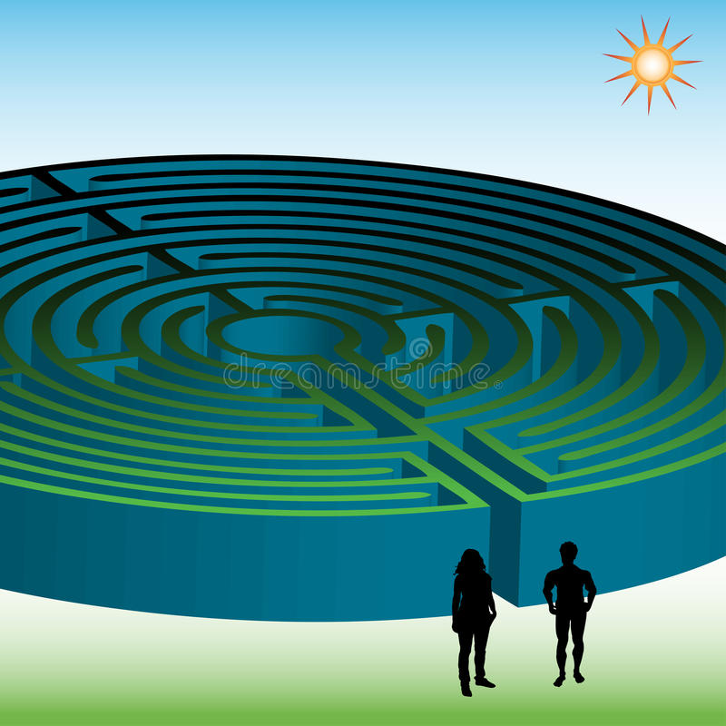 Download Two People In Front Of A Maze Stock Vector - Image: 10996323
