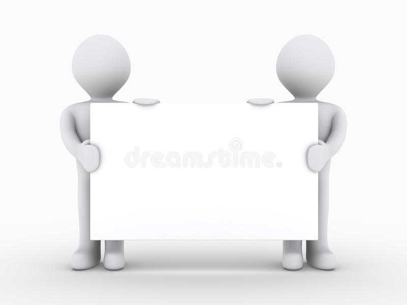 Two people are holding blank sign low royalty free illustration