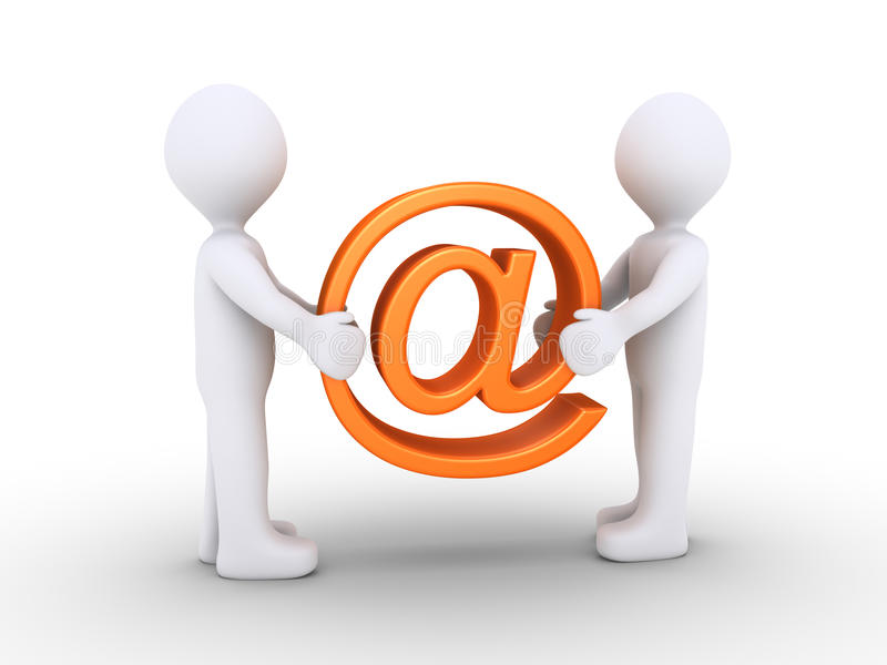Two people holding e-mail symbol vector illustration