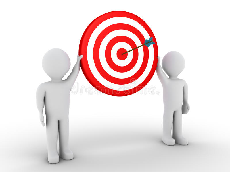 Two people holding target with arrow at the center stock illustration