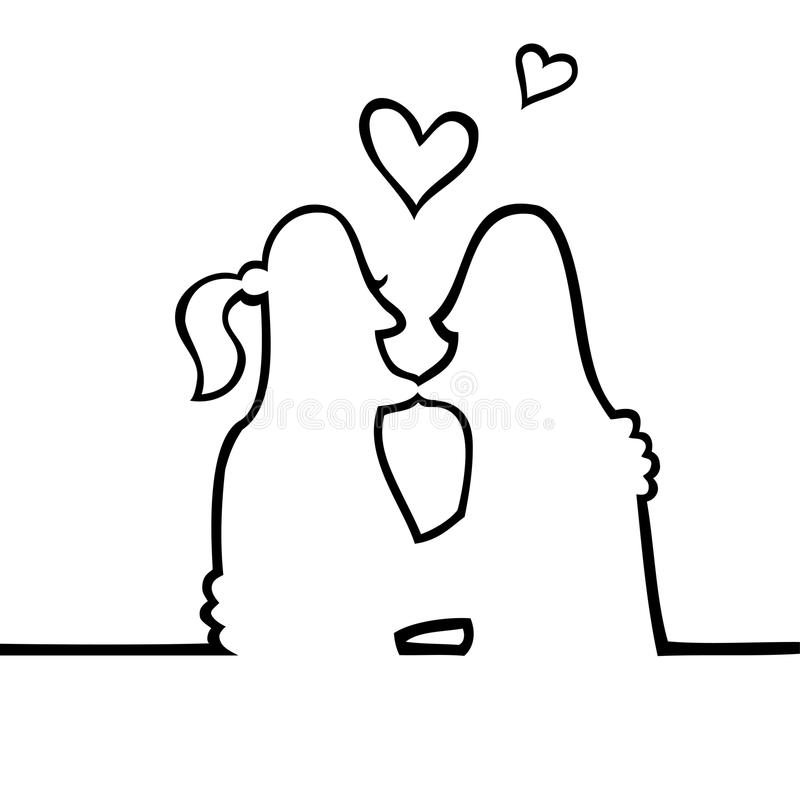 Two people kissing each other. Black and white drawing of two people kissing intimately, with hearts floating above their heads vector illustration
