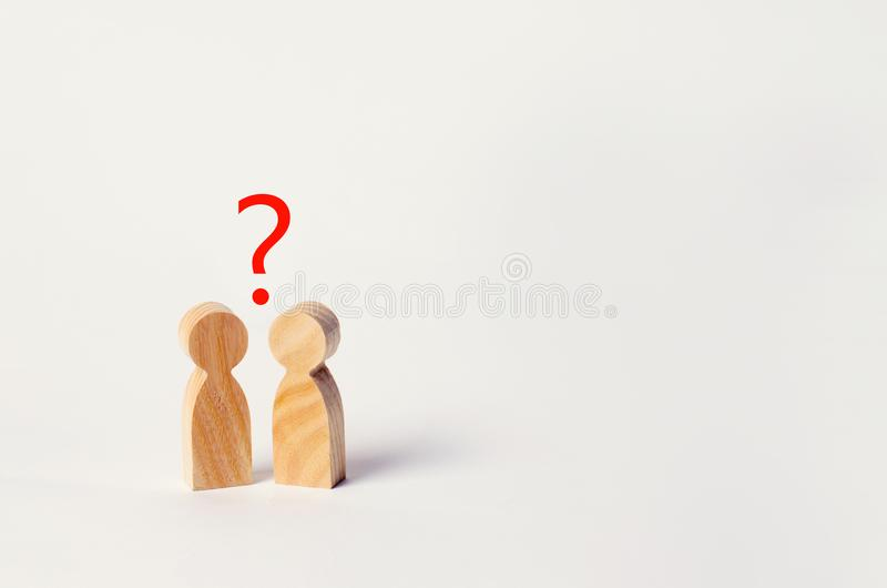 Two people are looking for an answer to a question, consultation. Discussion, discussion. family psychotherapy, question between people stock images