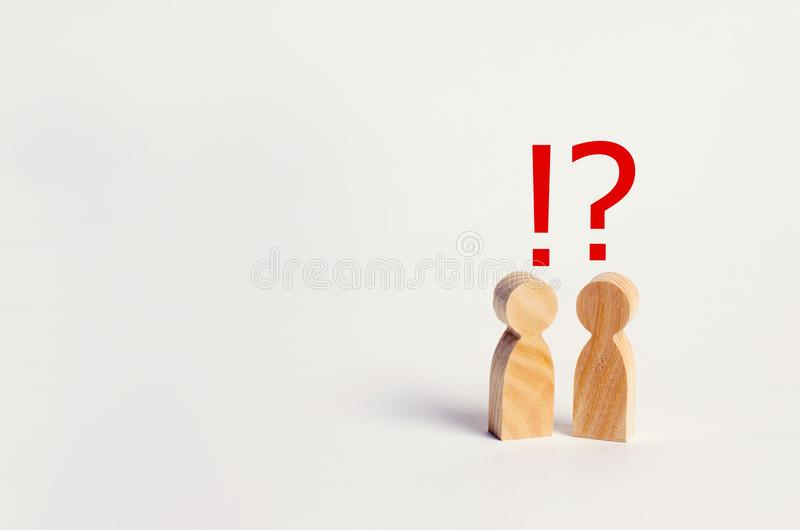 Two people are looking for an answer to a question, consultation. Discussion, discussion. family psychotherapy, question between people royalty free stock image