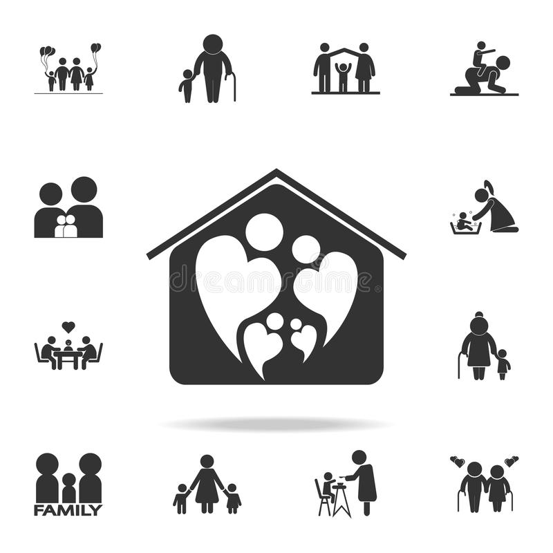 Two People In Love Forming Heart Symbol In Home Icon Detailed Set