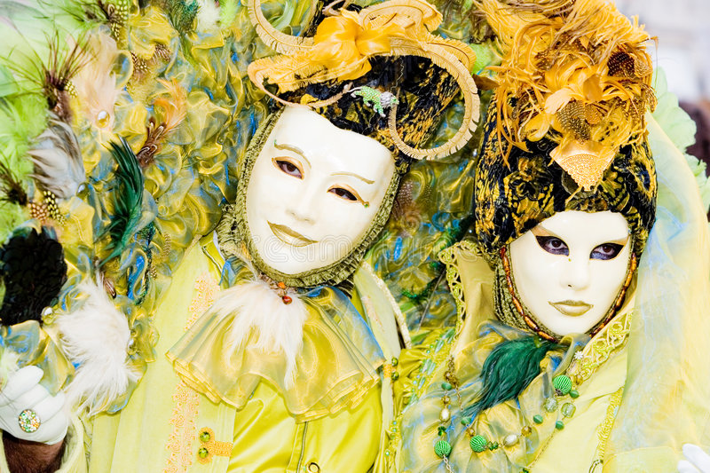 Two people in masks at the Venice Carnival stock photo