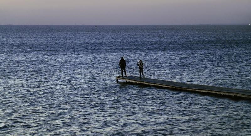 Seascape with people royalty free stock photo