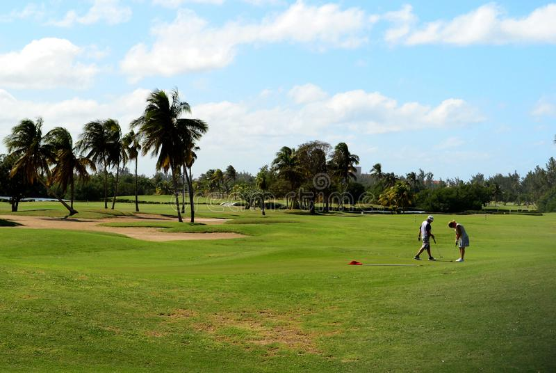 Two people playing golf on a clear summer day. Varadero, Cuba stock images