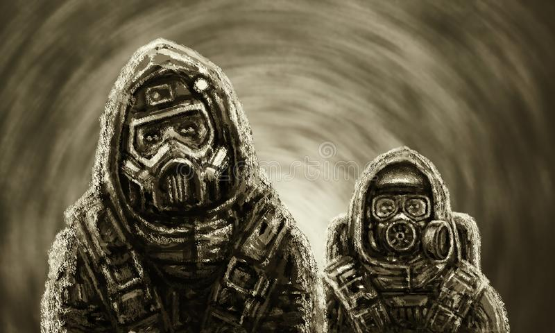 Two people in protective suits. Biological threat. stock image
