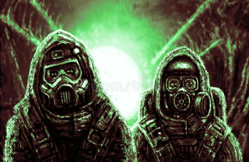 Two people in protective suits. stock photo