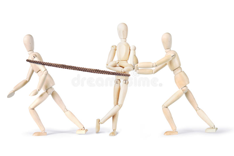 Two people pull another one to make him move royalty free stock image