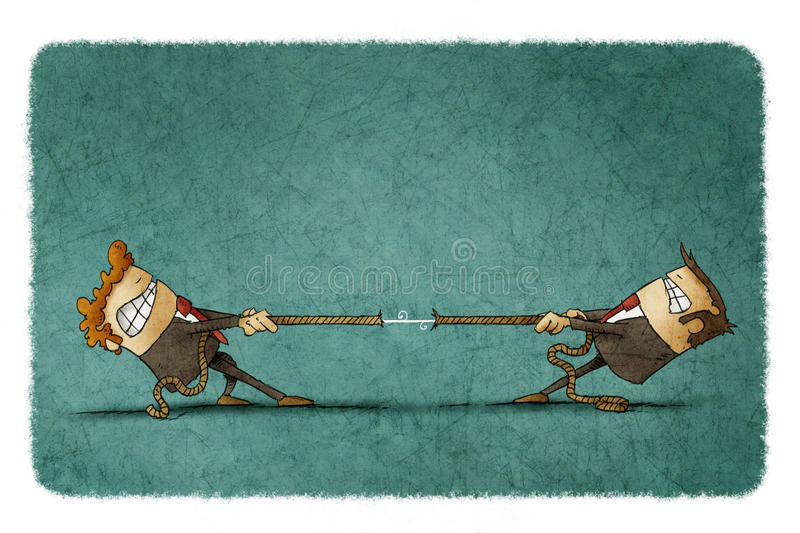Two people pulling rope. Illustration of two businessmen trying to pull a rope from each other vector illustration