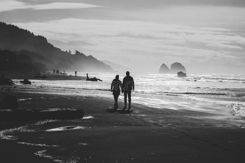 Two People On Seashore In Grayscle Free Public Domain Cc0 Image