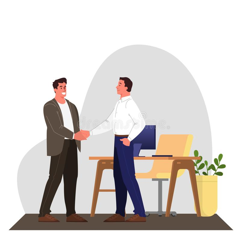 Two people shake hands as a result of agreement. Successful cooperation. vector illustration