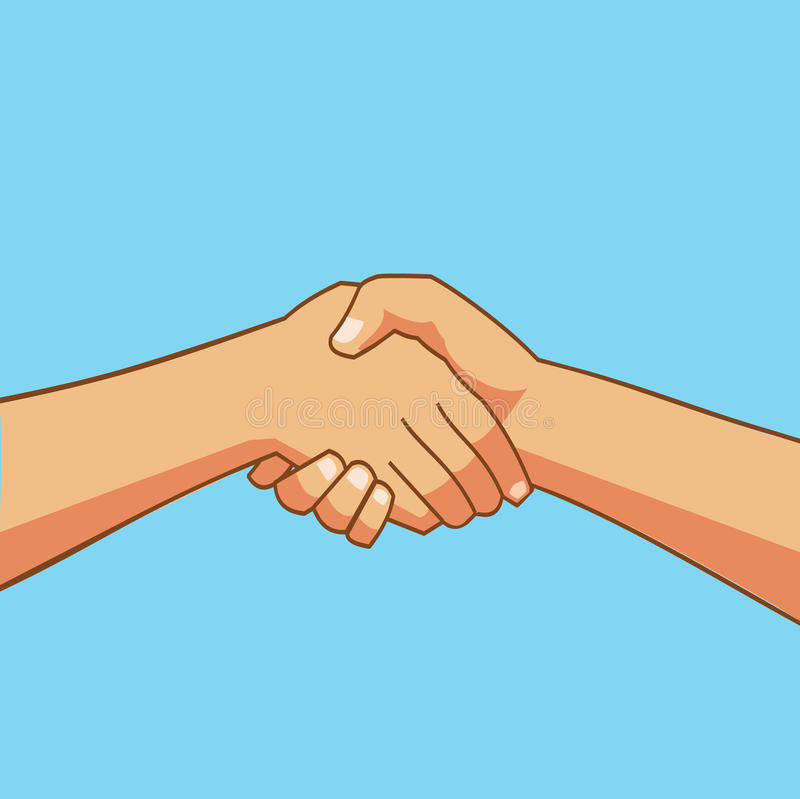 Two people shaking hands cartoon. Shaking Hands - Two people shaking hands cartoon- Business icon flat vector illustration stock stock illustration