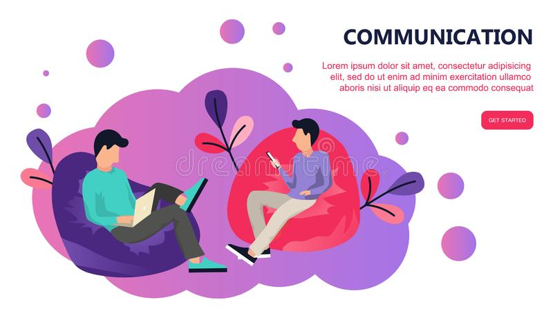 Two people sitting in lazy bag. Communication via the Internet, social networking, chat, video, messages, news, web site. Mobile web graphics. Landing page vector illustration