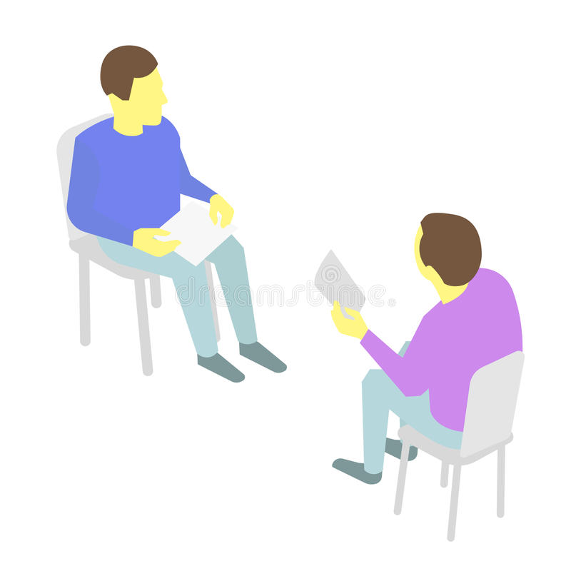 Two people talking Sitting on chairs. With paper in hand. stock illustration
