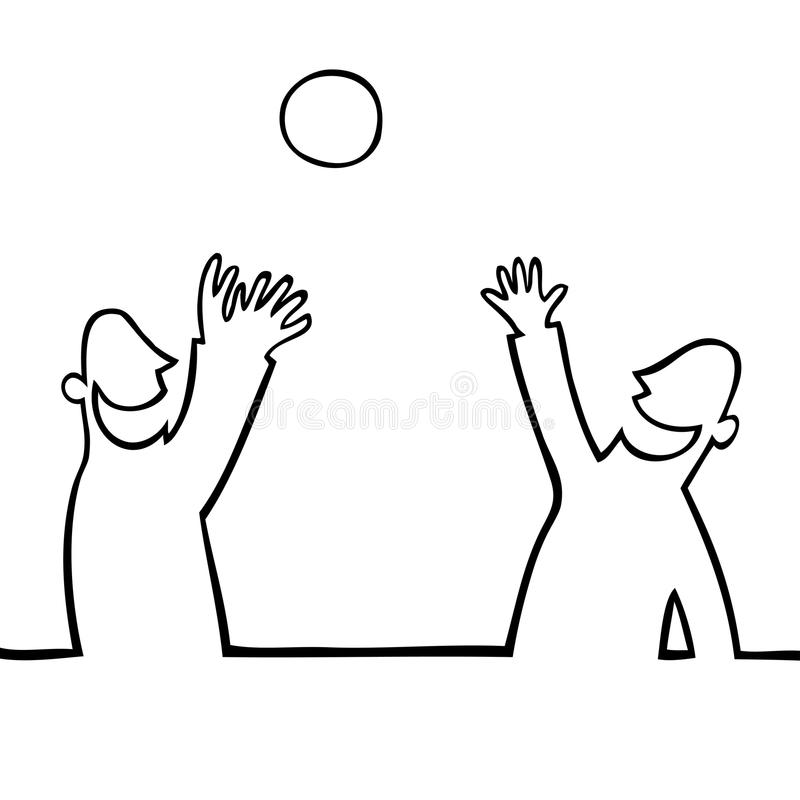 Two people throwing a ball at each other royalty free stock photography