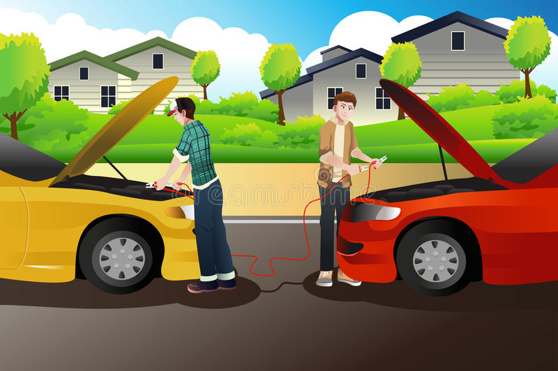 Download Two People Trying To Jump Start A Car Stock Vector - Image: 41549471