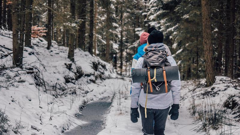 Two People Walking in Woods With Snow stock photo
