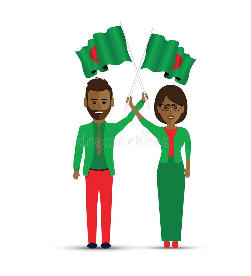 People waving Bangladesh flags vector illustration