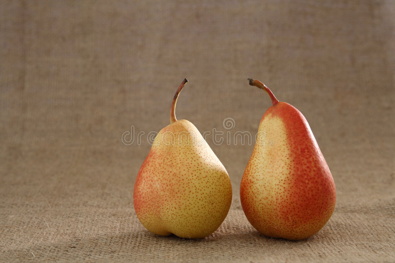 Download Two Perfect Red Pears On Hessian Burlap Background Stock Image - Image: 6120167