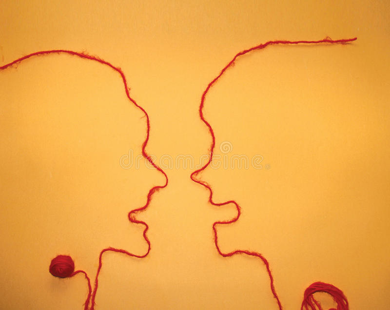 Two person communication - Red string royalty free stock photo