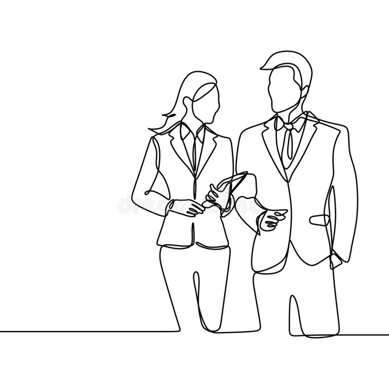 Two person of office worker. concept of a boss and his secretary standing looks gentle and awesome continuous one line drawing vector illustration