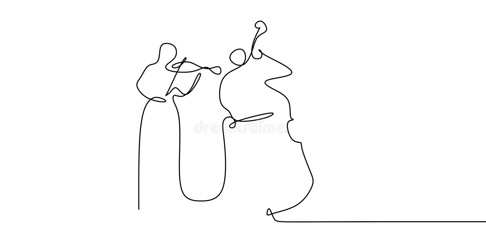 Two person playing cello and violin continuous one line drawing classical music theme stock illustration