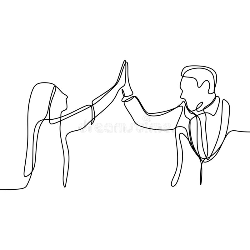Two person rising his hand and toss a high five. Continuous line drawing of a office man and a girl finishing or dealing their stock illustration