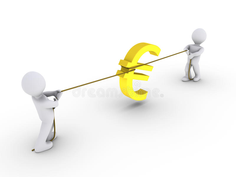 Download Two Persons Pulling Rope With Euro Sign Royalty Free Stock Images - Image: 25254429