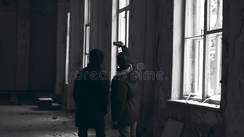 Two Persons Taking Photo royalty free stock image